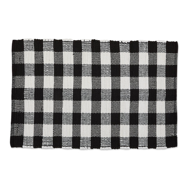 Black/White Buffalo Check Chindi Rug - DII Design Imports
