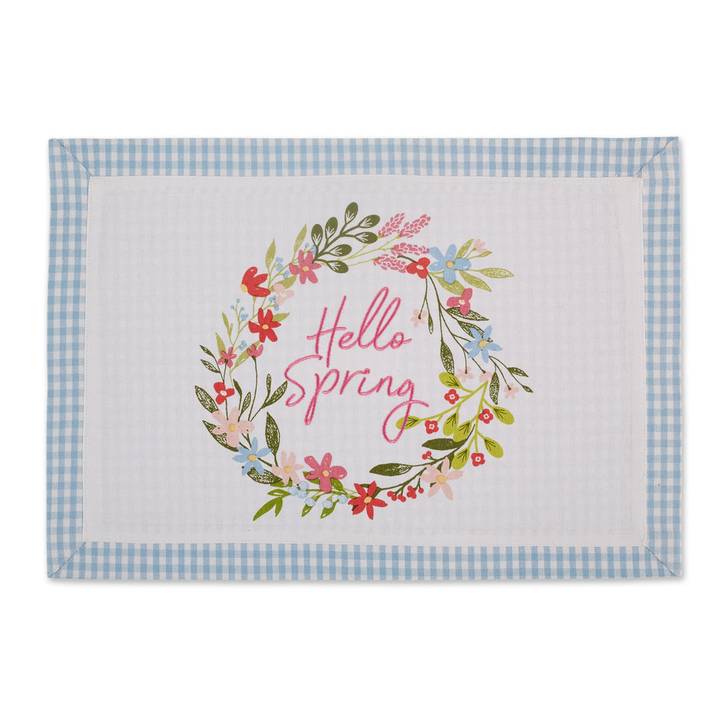 HELLO SPRING WREATH PRINTED PLACEMAT