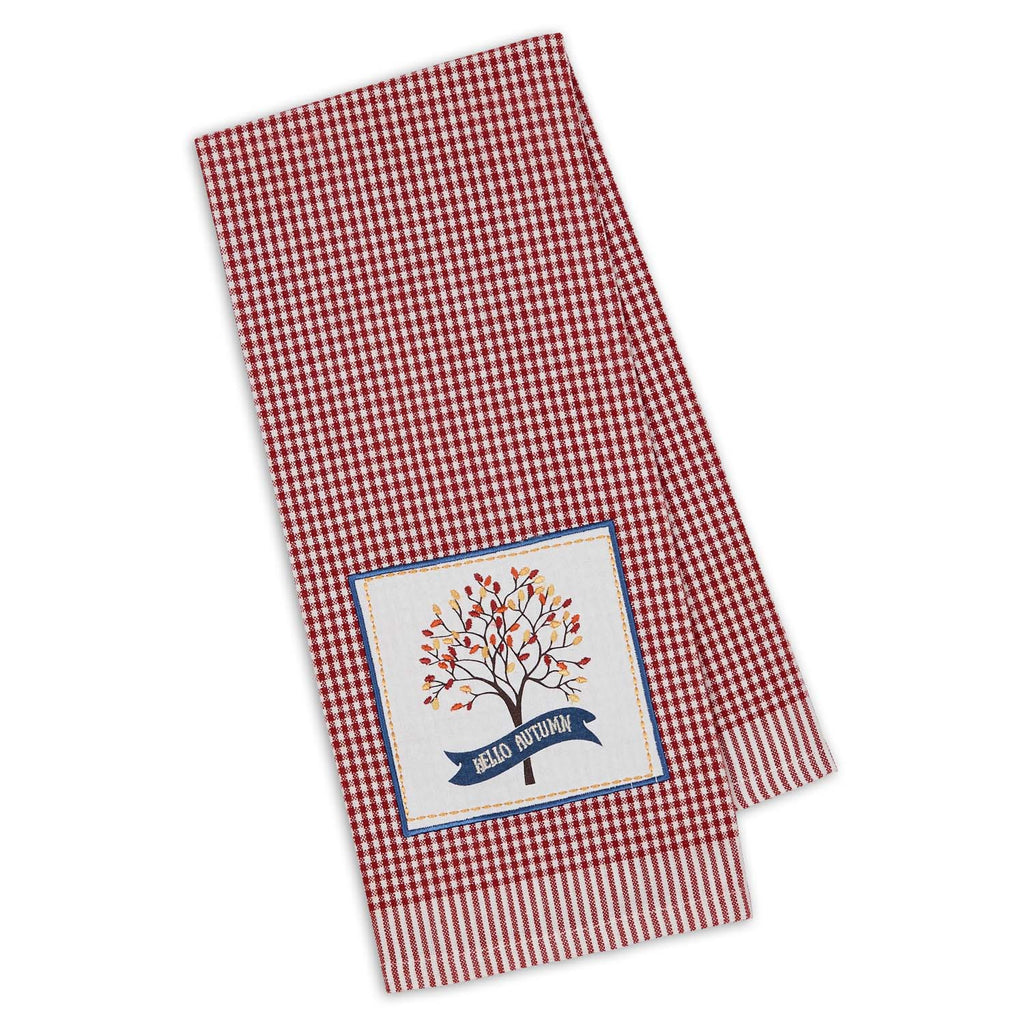 Hello Autumn Embellished Dishtowel