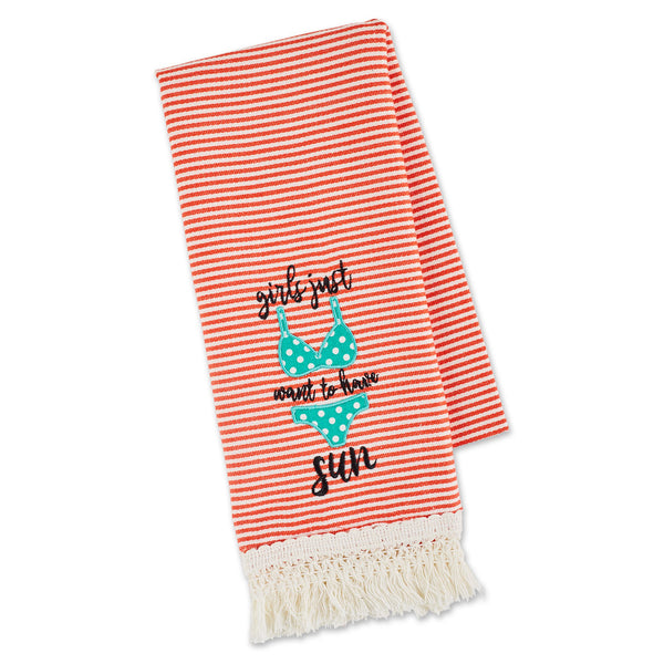 GIRLS JUST WANT SUN EMBELLISHED DISHTOWEL