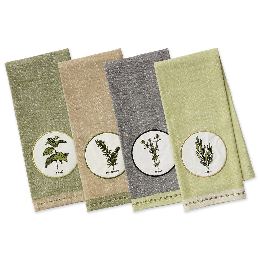 Herbal Embellished Dishtowels - DII Design Imports