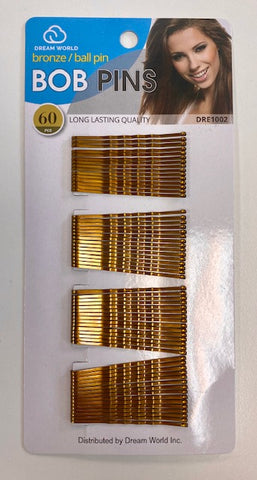 Dream World Bronze/Ball Pin Bob Pins 60 Pcs
