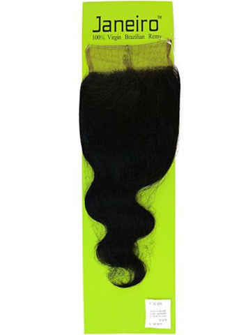 "Janeiro Body 100% Virgin Brazilian Wave 12"" 4x4 Closure"