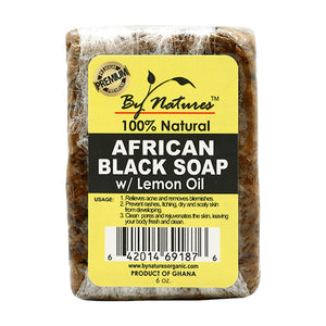 By Natures 100% Natural African Black Soap w/Lemon Oil
