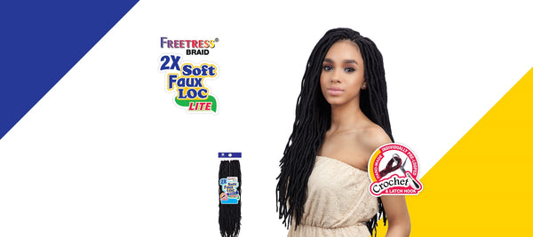 FreeTress 2X Crochet Braid Soft Faux Loc Wavy 20""
