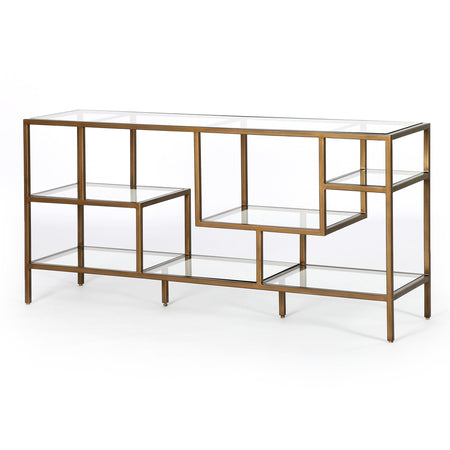 Helena Brass Media Console in Antique Brass