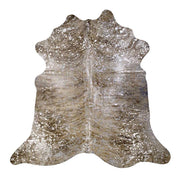 Cowhide Rug Light Brindle Tan with Silver