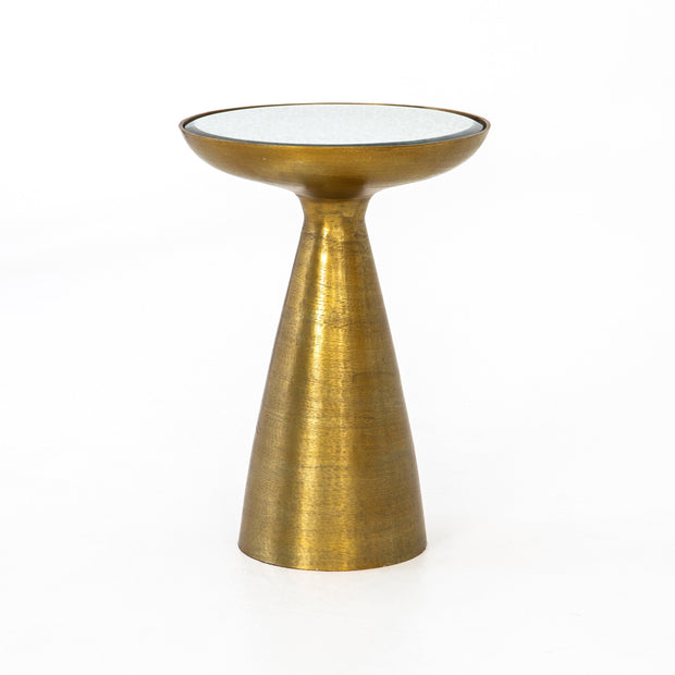 Marlow Mod Pedestal Table in Brushed Brass