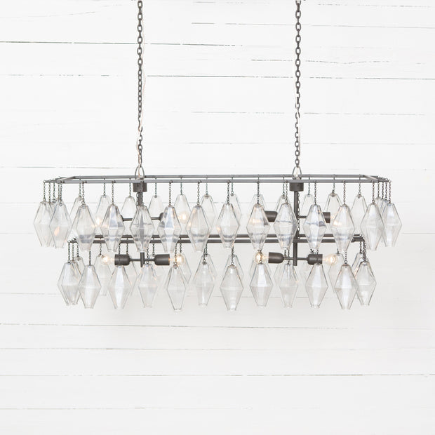 Adeline Rectangular Chandelier - Antiqued Iron