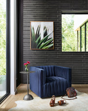 Augustine Swivel Chair in Sapphire Navy