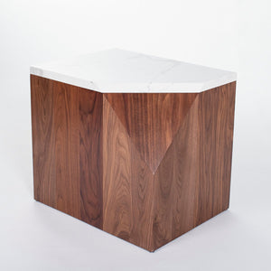 ULAH's Elliot Side Table in Calacatta Quartz and Solid Walnut - Left