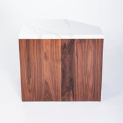 ULAH's Elliot Side Table in Calacatta Quartz and Solid Walnut - Right