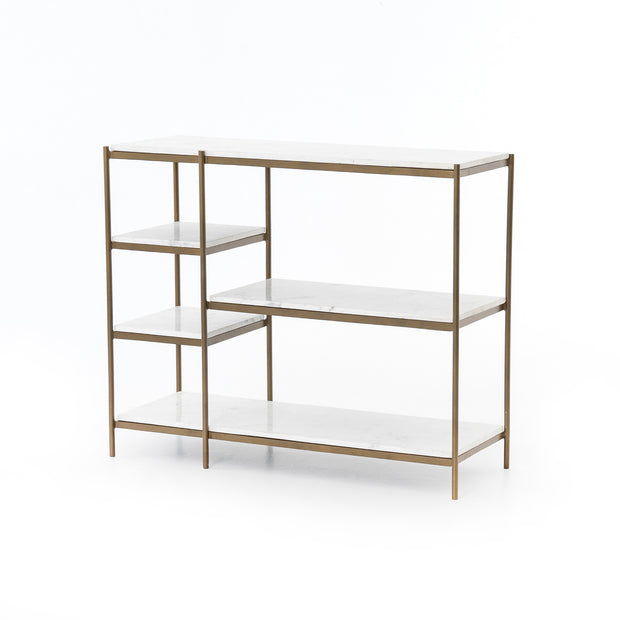 Lily Console Table - Antique Brass & White Marble