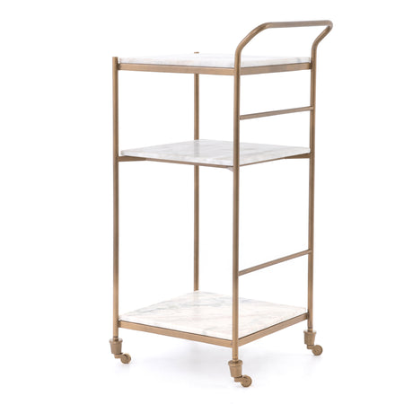 Felix Bar Cart - Brass & White Marble