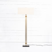Rae Floor Lamp - Light Beige, Brass & Black Marble