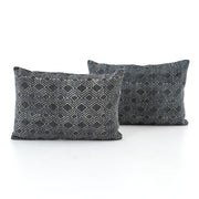"Charcoal Diamond Print Lumbar Pillows 24x16"", Set of 2"