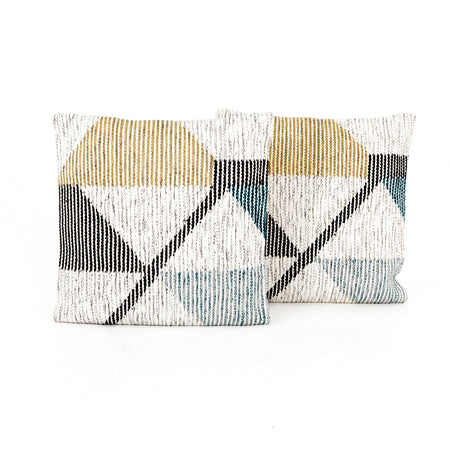 "Cream Color Block Pillow 24x24"", Set of 2"