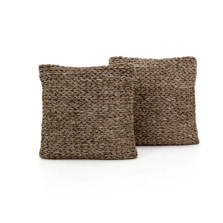 "Stone Braided Pillow 20x20"", Set of 2"