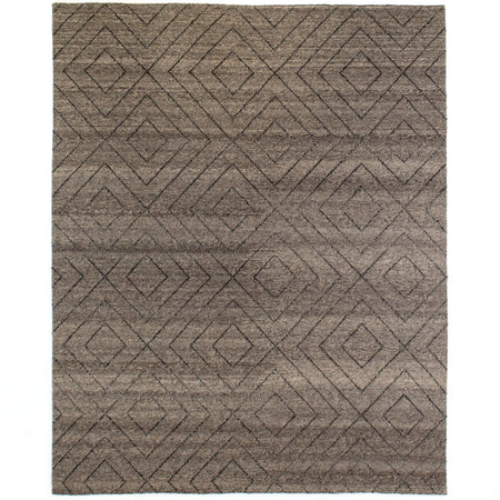 Natural Diamond Patterned Wool Rug