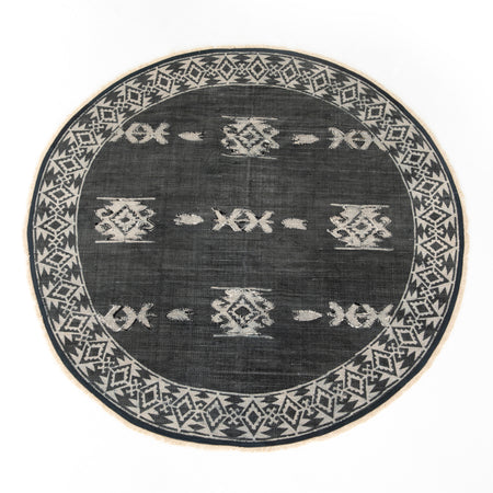 Tribal Faded Black Rug - 6' Round