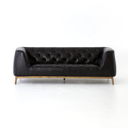Remington Leather Sofa - Rider Black 86""