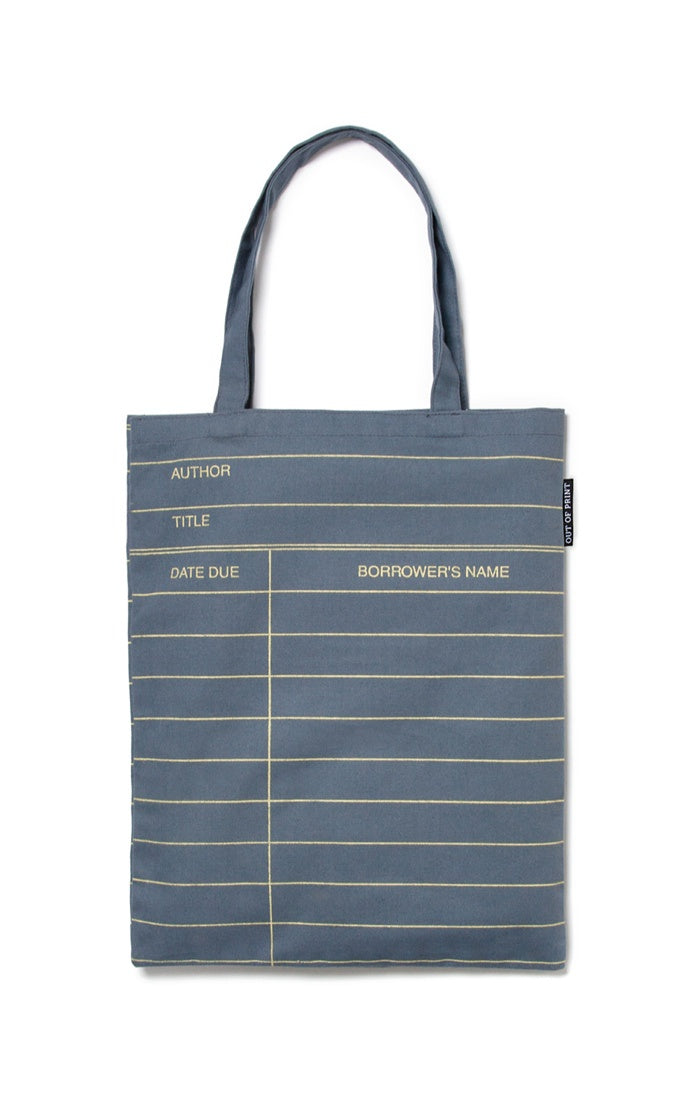LIBRARY CARD GRAY TOTE