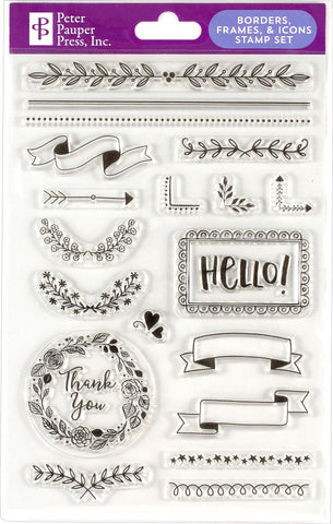 Borders, Frames & Icons Clear Stamp Set