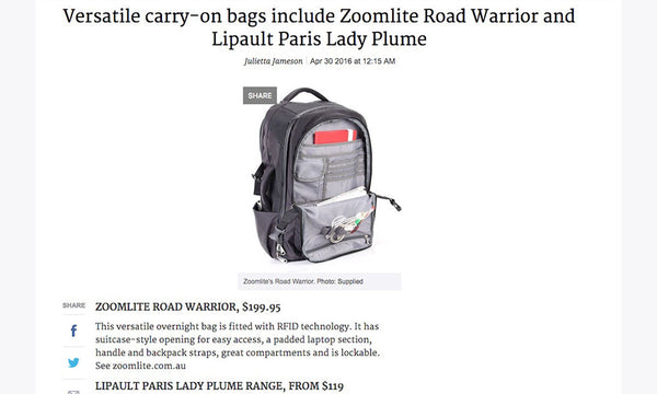 Versatile carry-on bags include Zoomlite Road Warrior