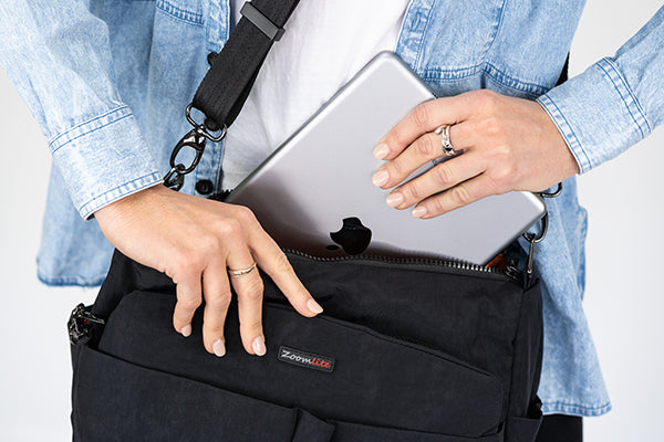 Roomy travel safety bag from Zoomlite, great for an iPad plus a book or jumper