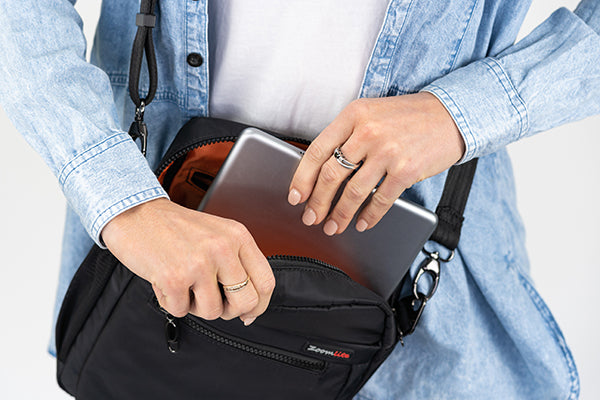 Travel with your tech - iPad pocket in Zoomlite anti-theft travel bag