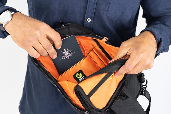Zoomlite anti theft travel bag - sling bag protects against data skimmers