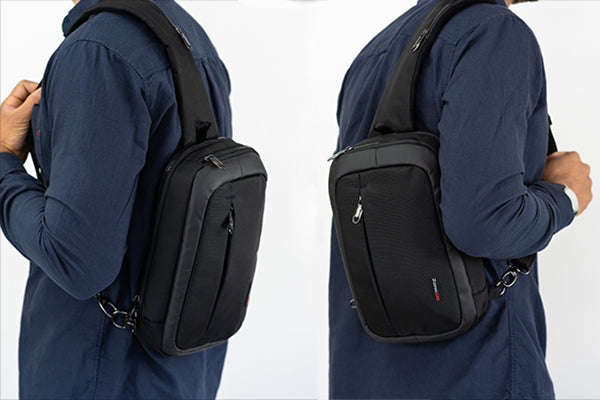 Anti theft travel bag by Zoomlite - can be worn on the left or right shoulder