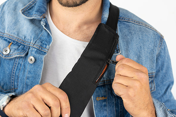 Zoomlite travel sling - strap pocket for added convenience