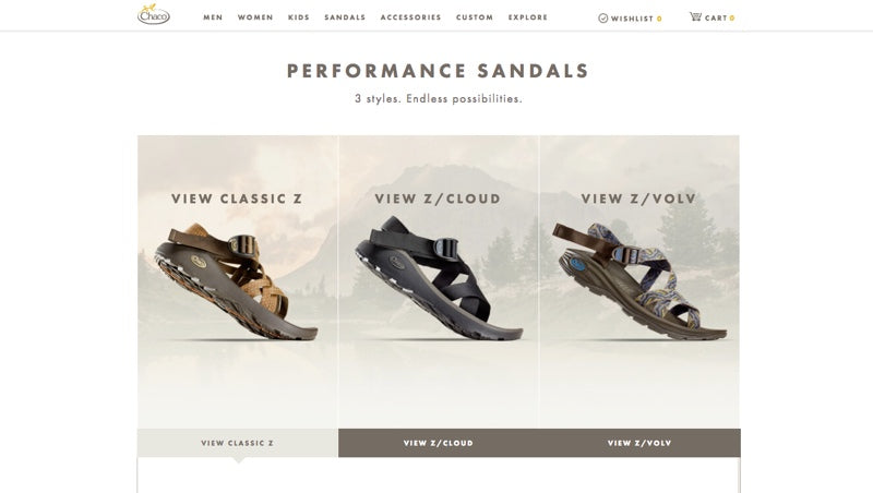 Chaco screenshot for multi-purpose sandals