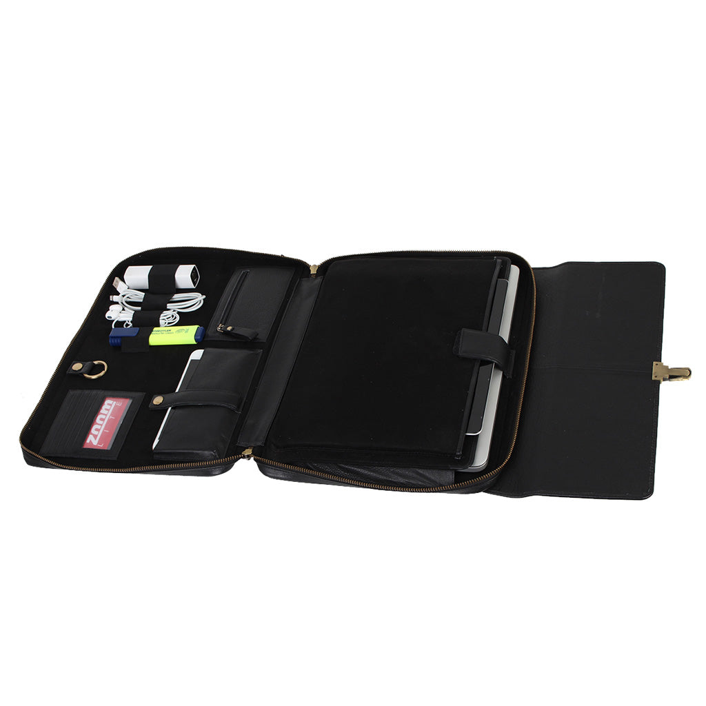 Zoomlite leather laptop Tablet folio opens out flat to give you access to your belongings