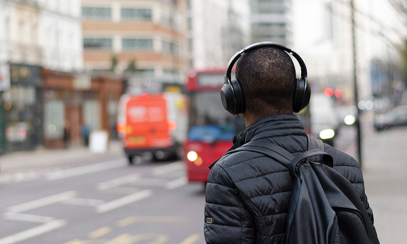 Listening to music with both headphones on