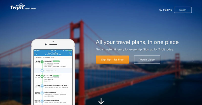 Tripit screenshot for itinerary - travel safety tips