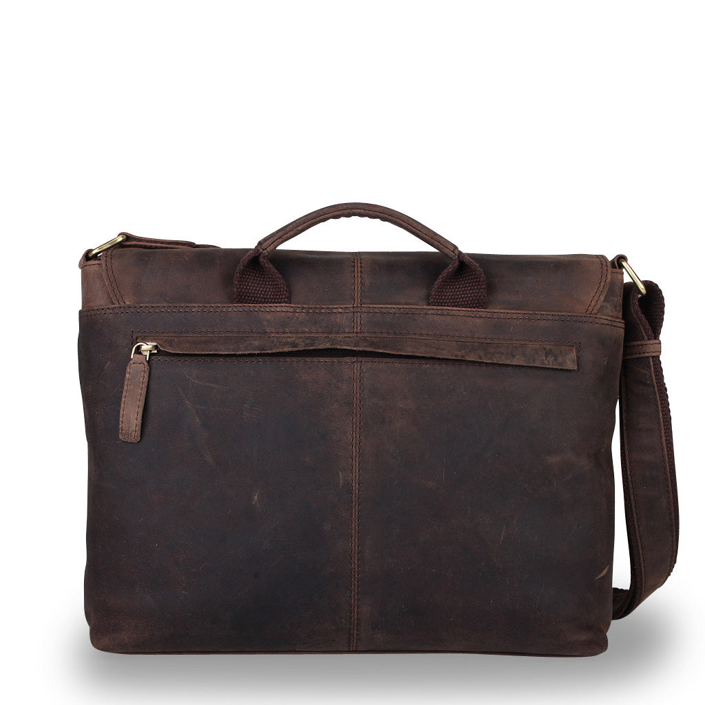 Zoomlite Parker vintage look leather satchel has a top grab handle and rear zip pocket