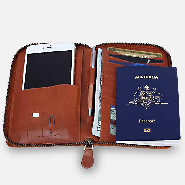 Zoomlite travel wallet fits it all - phone passport, cards, boarding pass, SIM & SIM tool