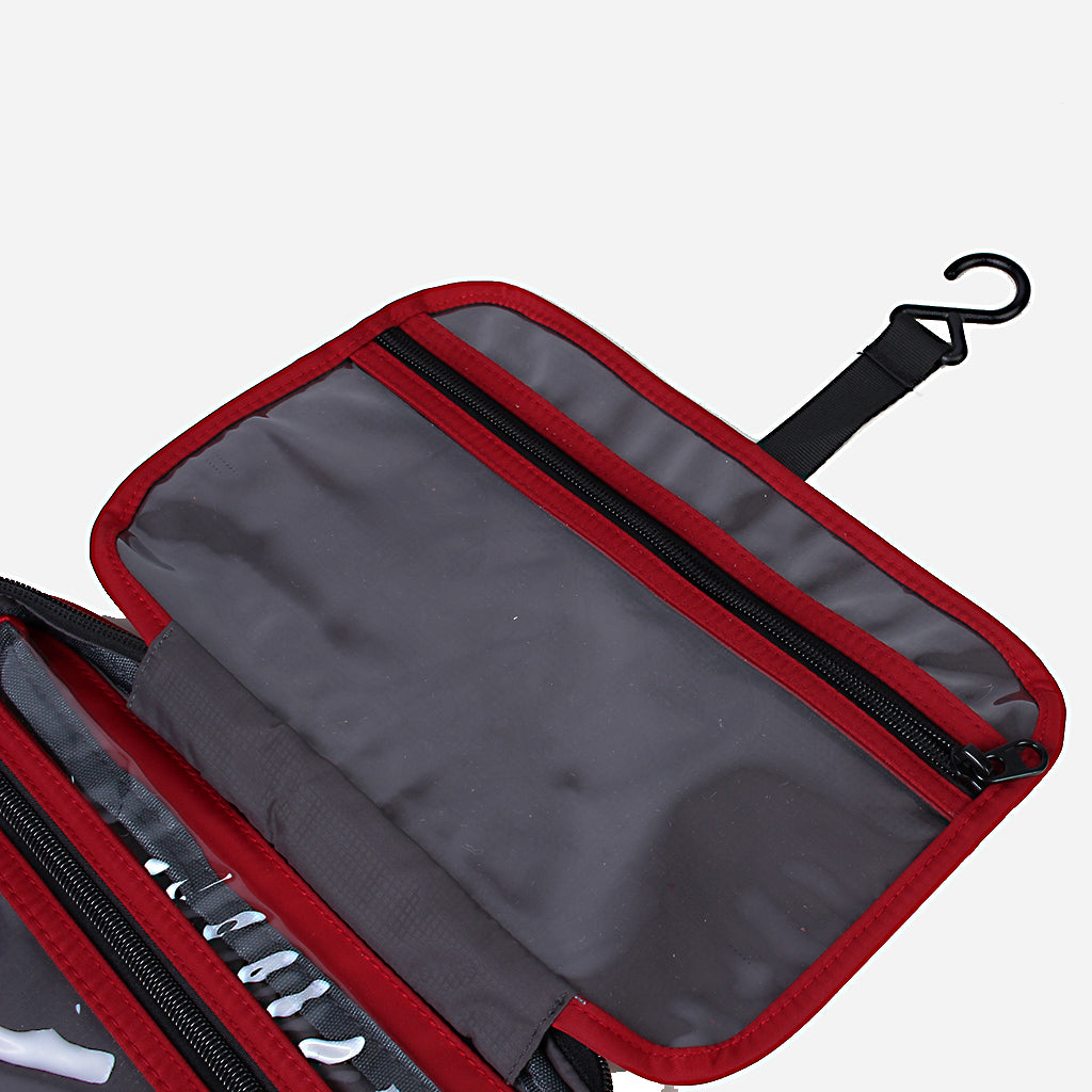 Zoomlite travel toiletry bag has a hanging hook