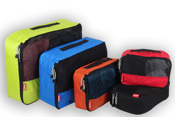 Colour code your packing with packing cubes in differenet colours