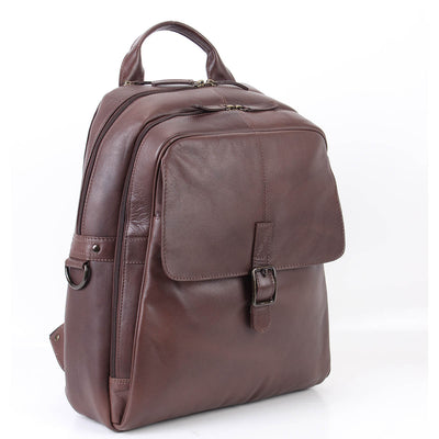 "Zoomlite Toby soft leather backpack has a padded laptop section for up to a 15"" laptop"