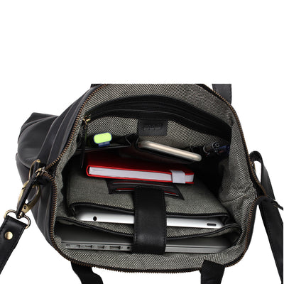 Zoomlite York Crossbody soft leather tote bag has padded tablet and laptop sections, and pockets to keep you organised