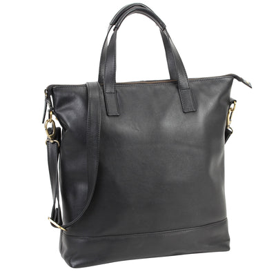 Zoomlite York soft leather tote bag with detachable crossbody strap and padded tablet & laptop sections