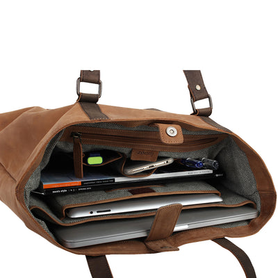 "Zoomlite Hudson Carryall leather tote bag is great for organisation and fits a tablet and 13"" laptop"