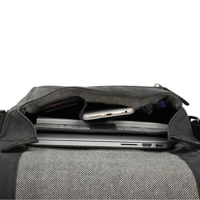 Zoomlite Manhattan leather laptop bag with organiser pockets and padded laptop section