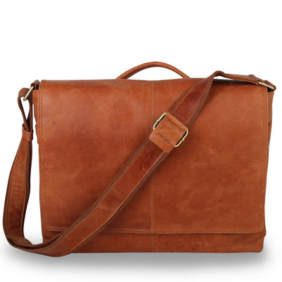 "Zoomlite leather laptop messenger bag - fits up to a 13"" laptop"