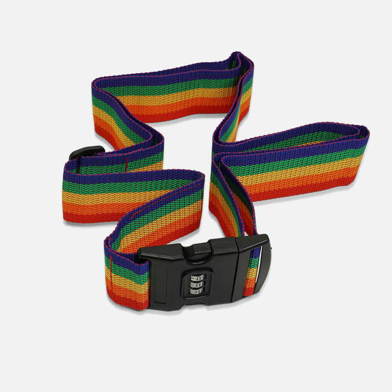 Combination Lock Travel Luggage Strap - Rainbow