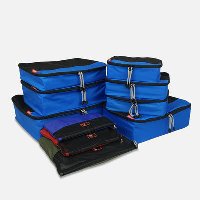 Prepare for your next trip with the ultimate travel accessory - the 10 piece Ultimate Packing Bundle in Blue/Black from Zoomlite