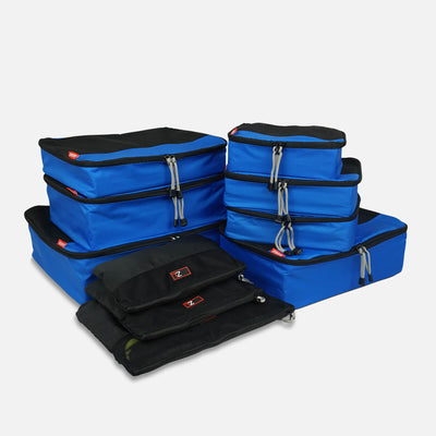 Organise Your luggage with travel packing cubes - 10 Pc Packing Cube Set in Blue/Black